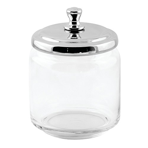 Bathroom jar glass clear decor chrome lid q tips cotton for Clear glass bathroom accessories
