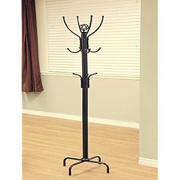 Frenchi Furniture Black Metal Coat Rack, 12 Hooks