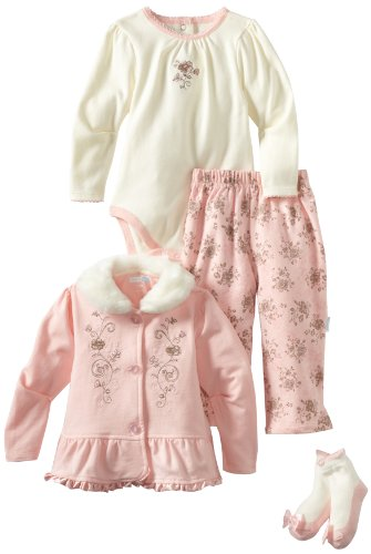 Vitamins Baby-Girls Infant Soft Floral 3 Piece Creeper Pant Set, Pink, 12 Months