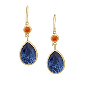 14k Yellow Gold Orange and Tanzanite Cubic Zirconia Drop Earrings