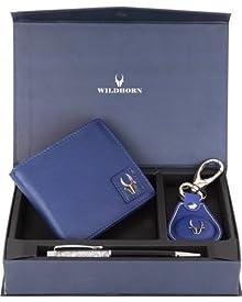 Wildhorn Men Blue Wallet, Key Ring & Pen