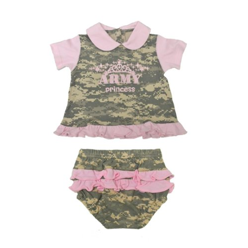 2Pc Infant Baby Army Princess Dress - Pink & Camo (9-12 Month) front-585437