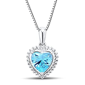 Blue Topaz Heart Pendant Necklace with Diamond Accent in Sterling Silver