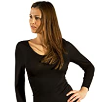 Long-Underwear Shirt, Long Sleeve, V-neck, Organic Wool-Silk, Black, s. 44/US14