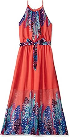 Amy Byer Big Girls Feather Print Maxi Dress With Self
