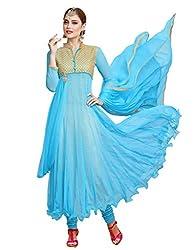 Varanga Exclusive Sky Blue Soft Net anarkali semi stitched Salwar Suits KFGRS1002