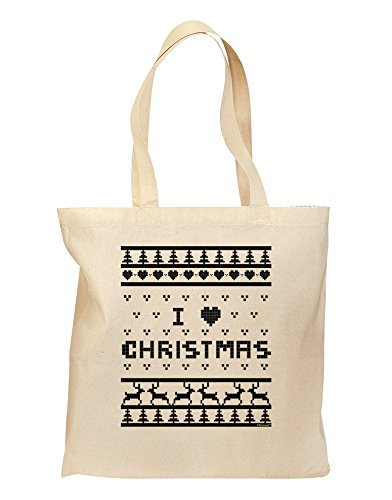 I Heart Christmas Ugly Christmas Sweater Grocery Tote Bag - Natural