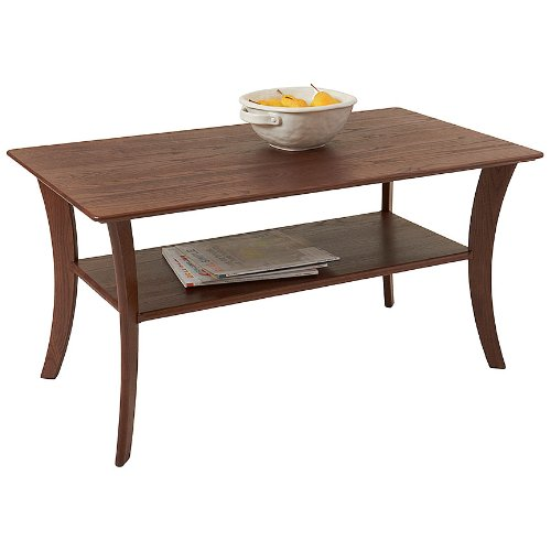 Manchester Wood Contemporary Coffee Table with Shelf - Chestnut