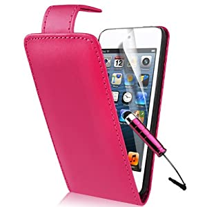 Supergets® Apple iPod touch 5 5G 5th Generation (Latest Model - Launched Sept 2012) HOT PINK PU Leather Flip Case,Touch Screen Stylus And LCD Screen Protector