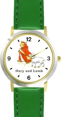 Mary Had A Little Lamb No.1 - From Mother Goose By Artist: Sylvia Long - Watchbuddy® Deluxe Two-Tone Theme Watch - Arabic Numbers - Green Leather Strap-Size-Large ( Men'S Size Or Jumbo Women'S Size ) front-777647