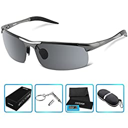 COSVER Fashion Sports Sunglasses Polarized Glasses for Driving Cycling Running Fishing Golf Unbreakable - Metal Frame Al-Mg Glasses(Gray)