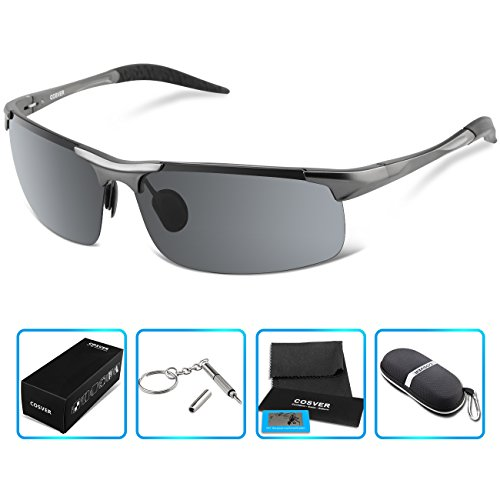 8bdc4c3e95 COSVER Fashion Sports Sunglasses Polarized Glasses for Driving Cycling  Running Fishing Golf Unbreakable – Metal Frame Al-Mg Glasses(Gray)