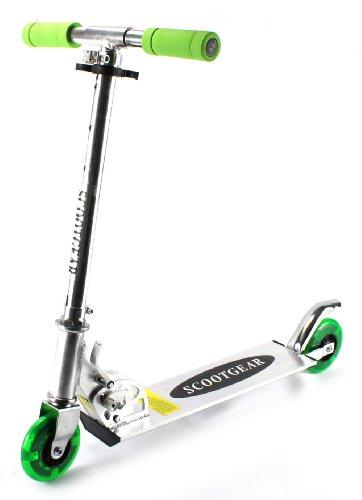 Scootgear Children'S Two Wheeled Metal Toy Kick Scooter W/ Adjustable Handlebar Height, Light Up Wheels (Green)