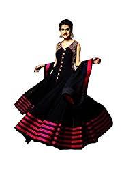 Clickedia Women's Faux Georgette Unstitched Dress Material (Payal Black Anarkali_Black Red_Free Size)