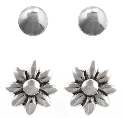 Sterling Silver Flower Stud and 5mm Ball Stud Earrings Set