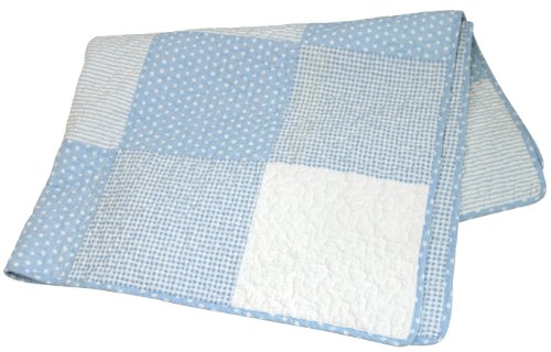 Best Buy! Stephan Baby Reversible Pieced Crib Quilt, Blue and White Vintage Dot