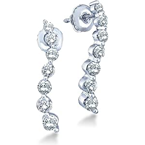 Click to buy 14K White Gold 7 Diamonds Dangle Twist Earrings from Amazon!