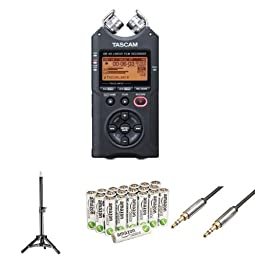 Tascam DR-40 Digital Audio Recorder Bundle with Tripod, Audio Cable, and Batteries
