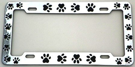 animal paws license plate frame chrome plated metal