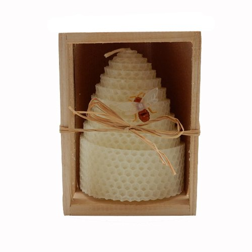 Green Pastures Wholesale Beeswax White Honeycomb Shaped Pillar Candle, 3 by 4-Inch (Honeycomb Shaped Jar compare prices)