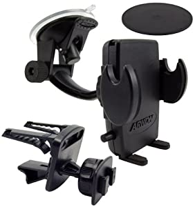 Arkon SM410 Universal Windshield with Dashboard and Vent Mount for Smartphones and PDAs - Mount - Bulk Packaging - Black from ARKON