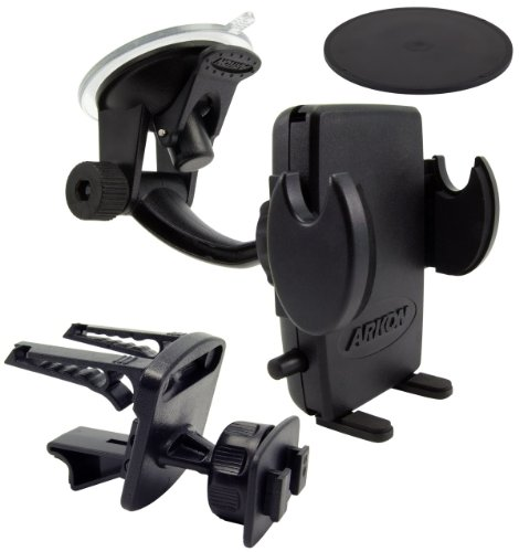 Arkon SM410 Universal Windshield with Dashboard and Vent Mount for Smartphones and PDAs - Mount - Bulk Packaging - Black