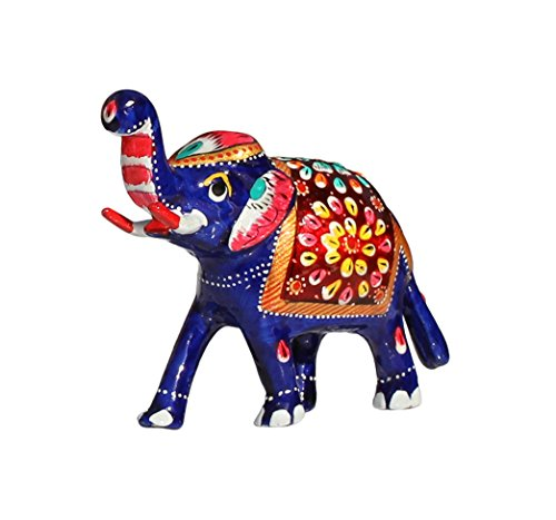 Souvnear Elephant Decor 4 2 Inches Trunk Up Elephant Figurine Sculpture With Meenakari Work