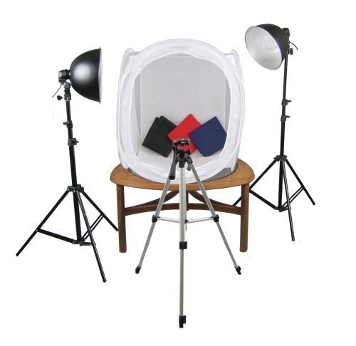 PhotoGeeks TT1 Continuous Lighting Tabletop Photography Kit / 60 x 60cm Light Tent / 2 x 35w Fluorescent 5500k Light Bulbs / 2 x 2m Light Stands / Tripod