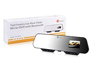 (New Arrival) TaoTronics TT-CD03 2.7-inch TFT LCD Car Dash Cam DVR Vehicle Accident Video Camera Recorder Rear View Mirror Type with 120-Deg. Wide Viewing Angle, G-Sensor, IR LED Night Vision & Bluetooth Hands-Free Calling (a Kingston 8GB microSDHC Class 4 Flash Memory Card is included)