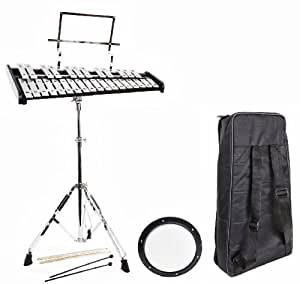 student bell kit with case practice pad mallets and sticks school percussion set. Black Bedroom Furniture Sets. Home Design Ideas