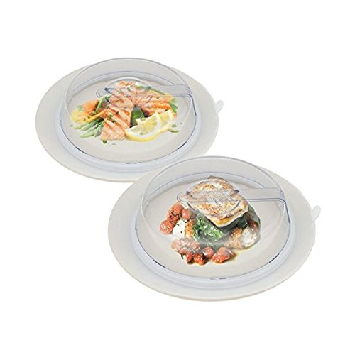 2 PlateTopper Universal Leftover Lid Microwave Cover Airtight Plate Topper Clear