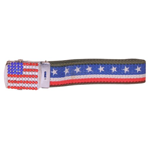 U.S.A. Flag Patriotic Belt w/ Rhinestone Buckle - Olive