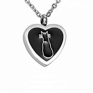AMIST Cat Inlay Heart Cremation Jewelry Pet Keepsake Memorial Urn Necklace