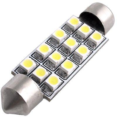 White Dome 12 LED 3528 SMD Car Interior Bulb Light 44mm