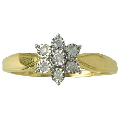 9ct Yellow Gold 10pts Diamond Set Flower Dress Ring