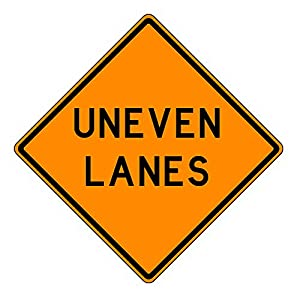 MUTCD W8-11 Orange Uneven Lanes Sign, 3M Reflective Sheeting, Highest Gauge Aluminum,Laminated, UV Protected, Made in U.S.A