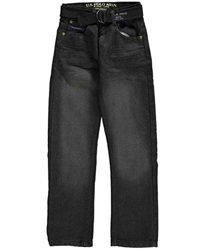 U.S. Polo Assn. Big Boys' 5 Pocket Belted Straight Leg Denim Jean, Mariner, 12