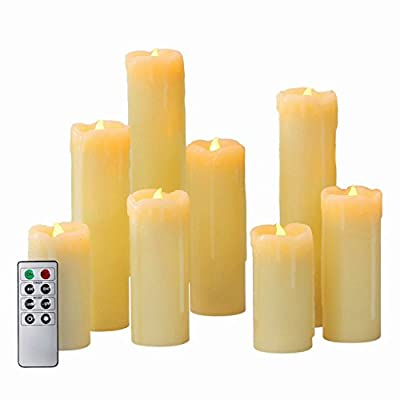 Set of 8 Slim Flameless Wax Candles with Bright Warm White LEDs