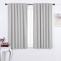 NICETOWN Window Treatment Thermal Insulated Rod Pocket Room Darkenining Curtains / Drapes For Bedroom (2 Panels,52 by 63,Greyish White)