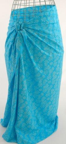 Deep Turquoise Marigolds Batik Sarong Pareo