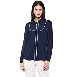 Femella Women's Navy Shirt with Contrast Detail (DS-11222-1169-NAV-XS )