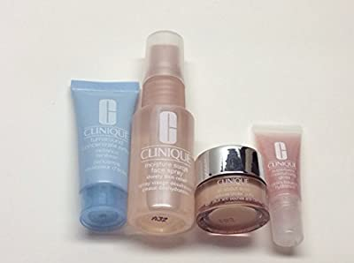 Clinique Gift Box with Travel Sized - Clinique Turnaround Concentrate (0.5 Fl Oz); Clinique All About Eyes (0.17 Fl Oz);,clinique Moisture Surge Face Spray (1fl Oz) and Clinique Super Balm Moisturizing Gloss (0.17 Fl Oz / 5 Ml)