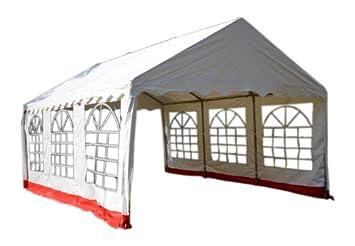 festzelt pvc pavillon raucherzelt partyzelt 4x6 m wei rot dee455. Black Bedroom Furniture Sets. Home Design Ideas
