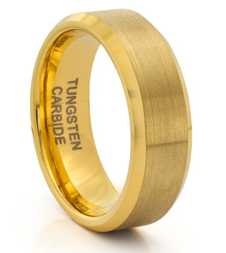 8MM Tungsten Carbide Brushed Gold Mens Wedding Band Ring (Available Sizes 7-14 Including Half Sizes) (9)
