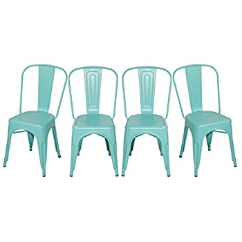Merax Solid Metal Bar Dining Chairs Steel Back Chairs, Antique Blue, Set of 4