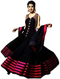 Clickedia Women Faux Georgette Semi-Stitched Black & Red Anarkali Suit - Dress Material