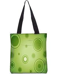 Snoogg Abstract Green Circles Digitally Printed Utility Tote Bag Handbag Made Of Poly Canvas