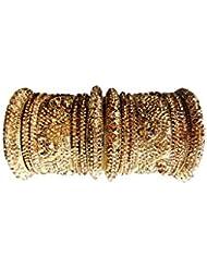 AK Imitation Jewellery Golden Brass Bangles For Women (NZ-STBANCH-Golden) (Set Of 2)