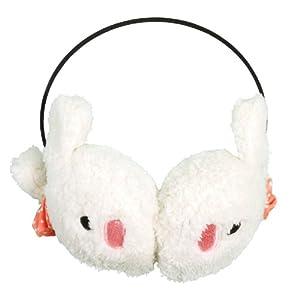 Women Girls Cute Rabbit Winter Earmuffs Fluffy Earcap Ear Warmer White