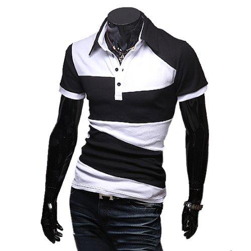(ライセンス)RAiseNsE 幾何学柄 バイカラー 半袖ポロシャツ カットソー TP129 XL ブラック